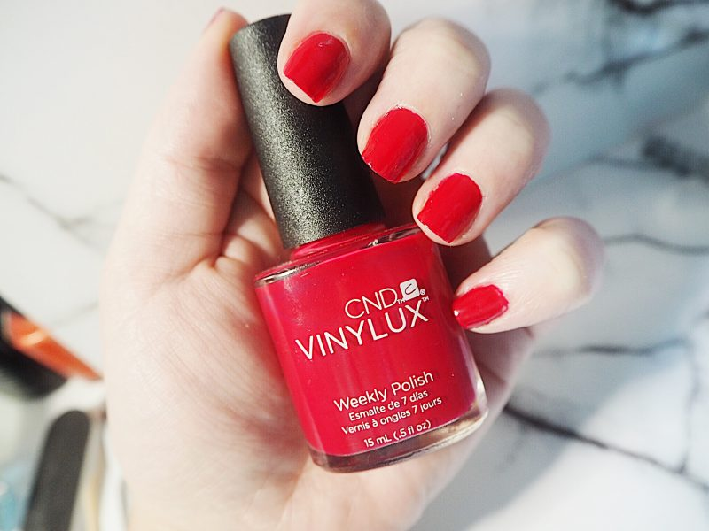 diy manicure, vinylux, shellac, red nails