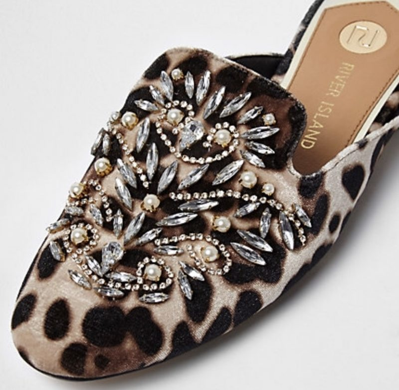 river island shoes loafers leopard print