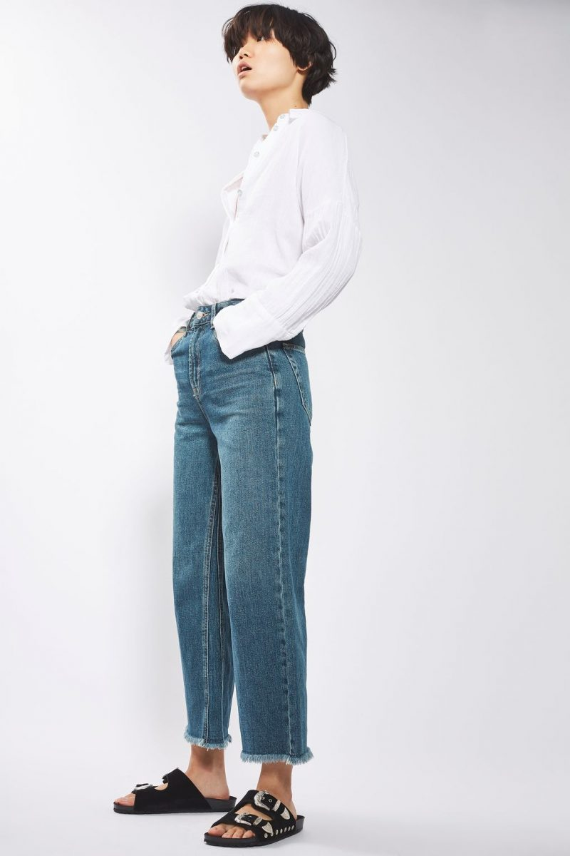 topshop vintage blue crop jeans