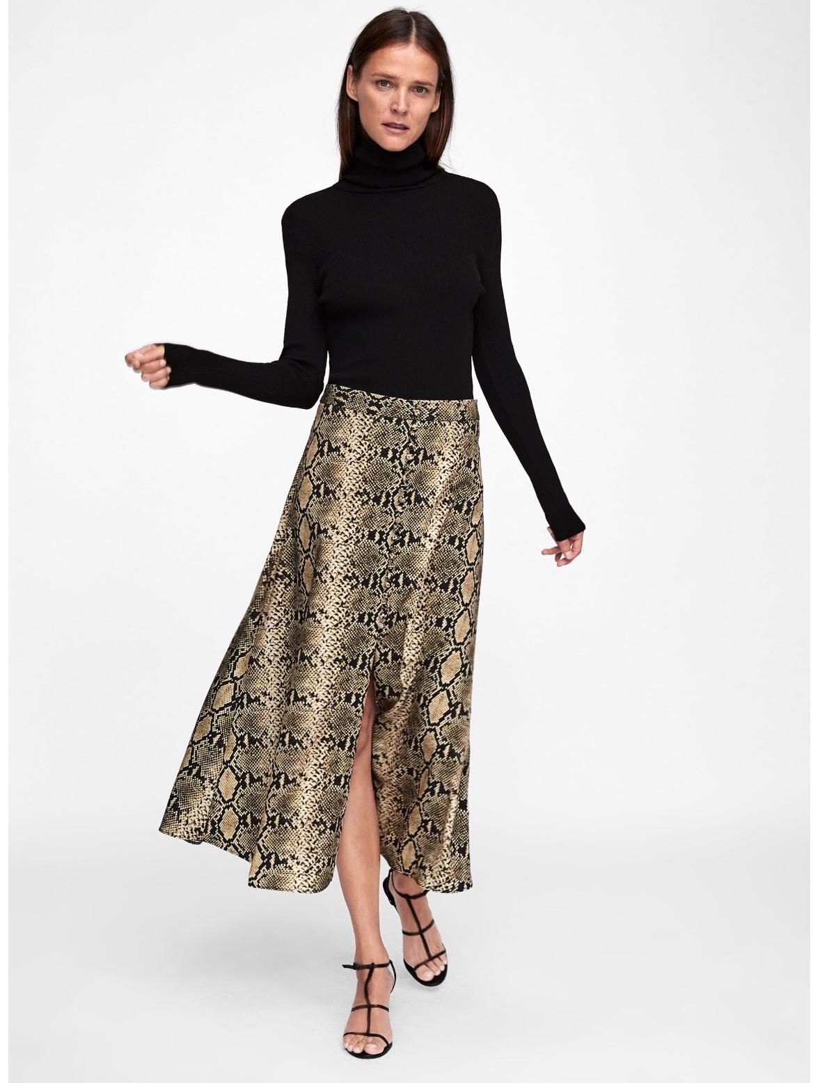 midi skirts snake print zara