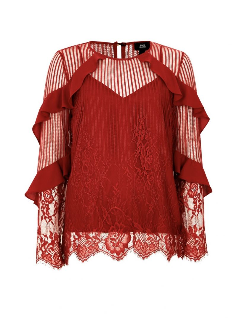 river island, top shopping red lace