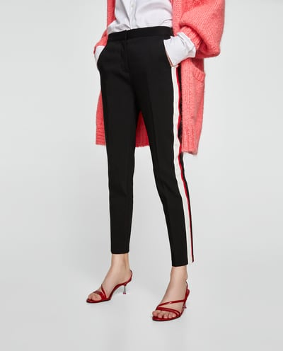 athleisure fashion trend sara side stripe trousers