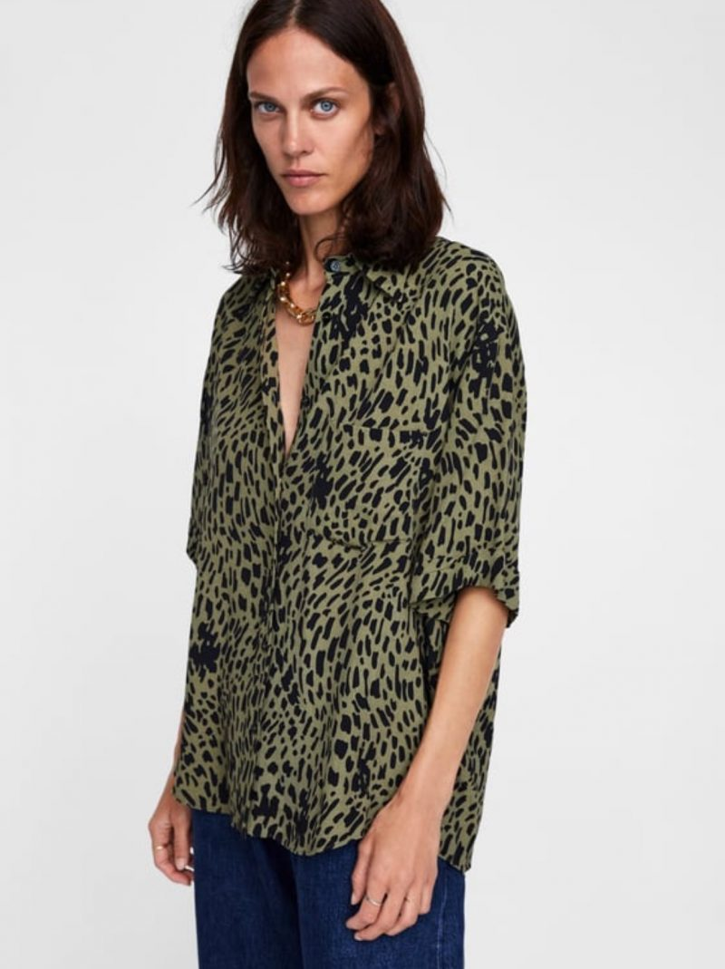 animal print, leopard print, zara, shirt online shop, fashion blog