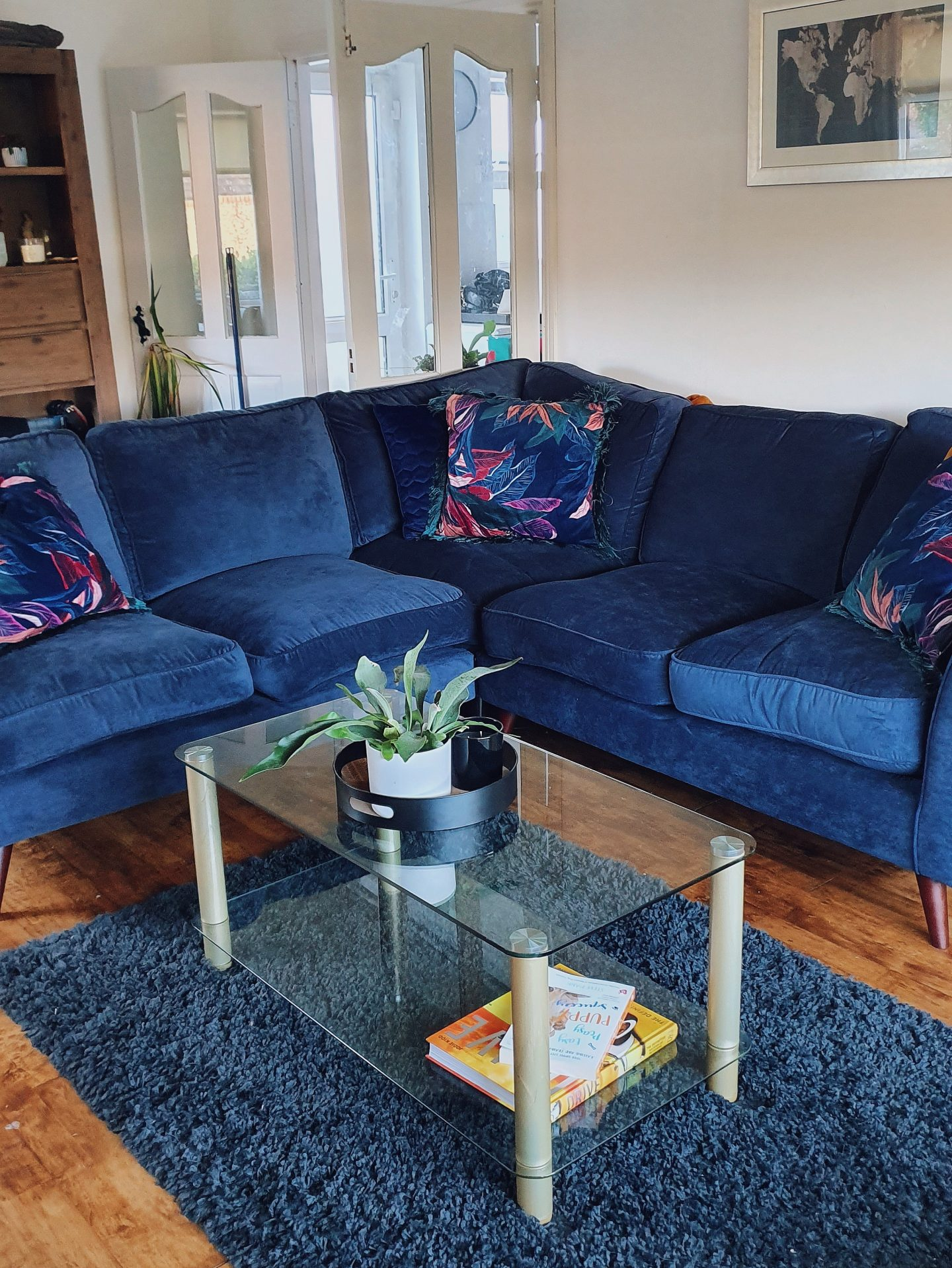 diy living room renovation blue corner sofa
